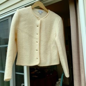 Lands End Boiled wool jacket. White